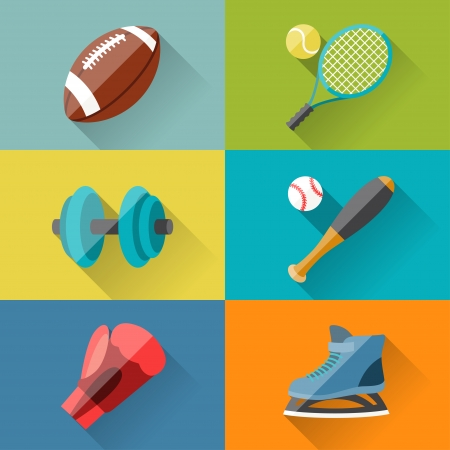 Sport icons in flat design style. Vector