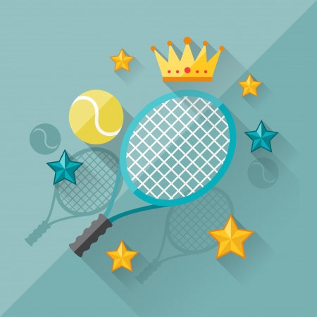 Illustration concept of tennis in flat design style. Vector