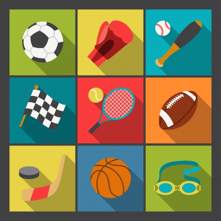 soccer ball: Sport icons set in flat design style.