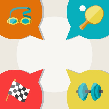 swimming goggles: Sports abstract background with speech bubbles. Illustration