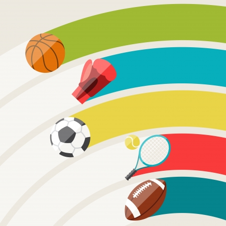 Abstract background with sport icons. Vector