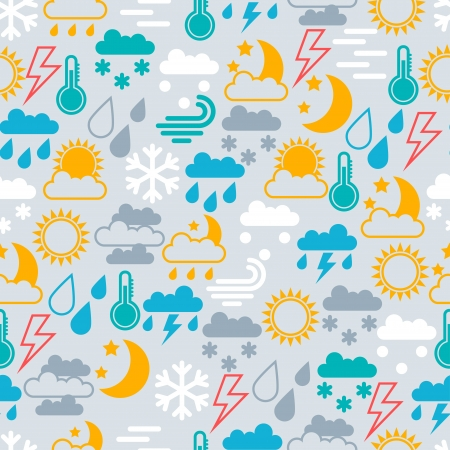 Seamless pattern of  weather icons. Vector
