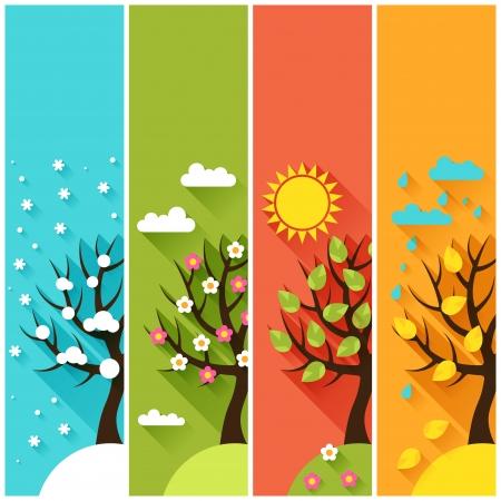 Banderas verticales con las de invierno, primavera, verano, otoño los árboles.