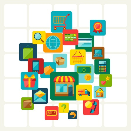Internet shopping concept background. Vector