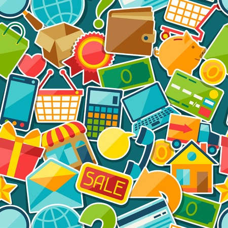 bank cart: Internet shopping seamless pattern.