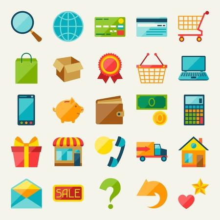 phone box: Internet shopping icon set in flat design style.