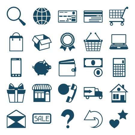 Internet shopping icon set in flat design style. Vector