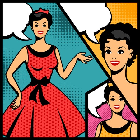 Illustration of retro girl in pop art style. Illustration