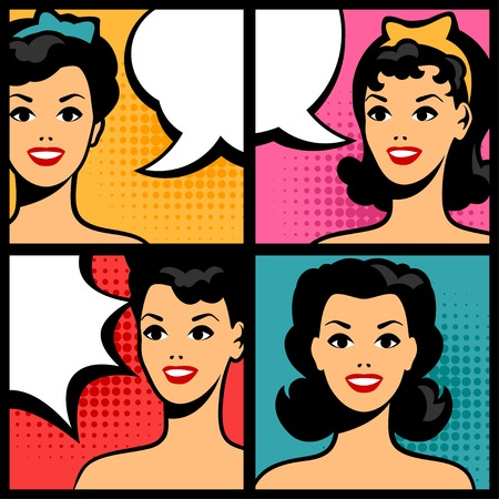 Illustration of retro girls in pop art style. Vector