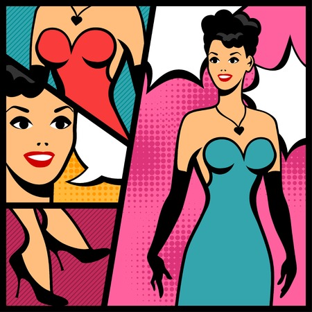 Illustration of retro girl in pop art style. Vector