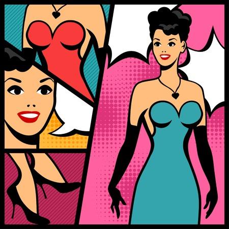 hand art: Illustration of retro girl in pop art style. Illustration