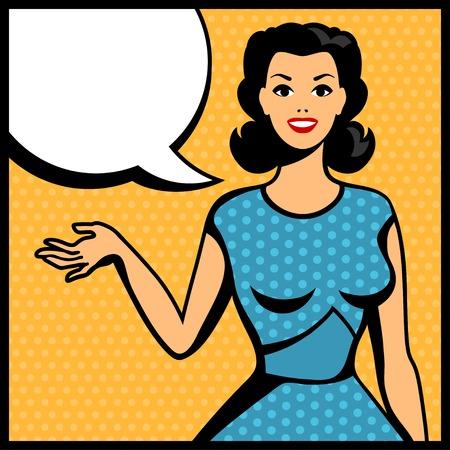 woman speaking: Illustration of retro girl in pop art style. Illustration