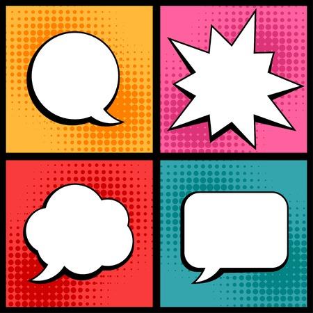 arte abstracto: Conjunto de burbujas del discurso en estilo pop art. Vectores
