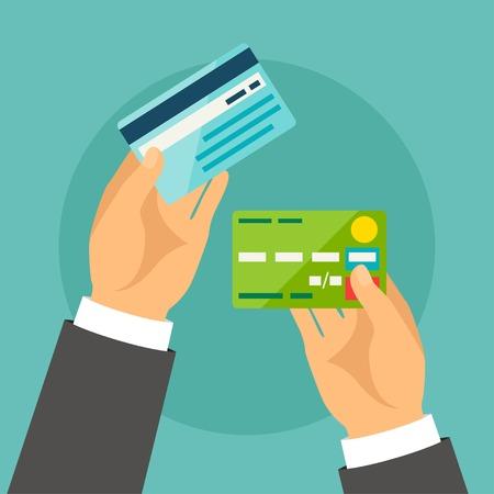 tarjeta: Manos que sostienen las tarjetas bancarias en el estilo de diseño plano.
