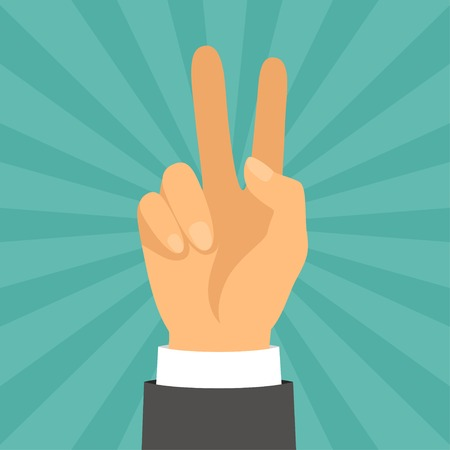 two thumbs up: Hand shows victory sign in flat design style. Illustration