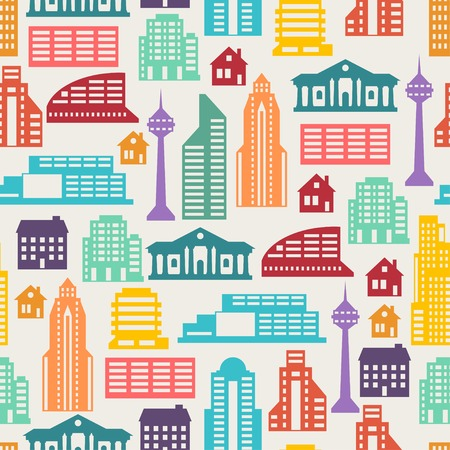 Cityscape seamless pattern with buildings. Illustration