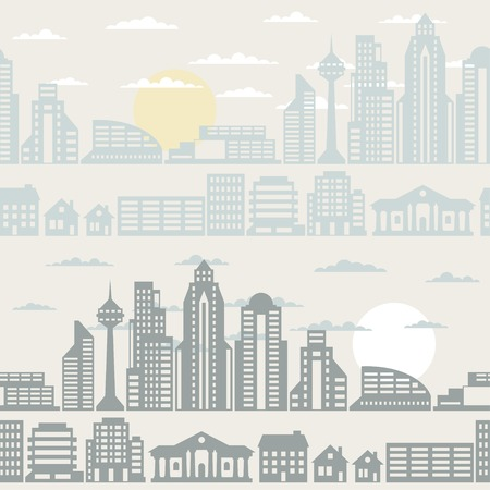 Cityscape seamless pattern with buildings. Vector