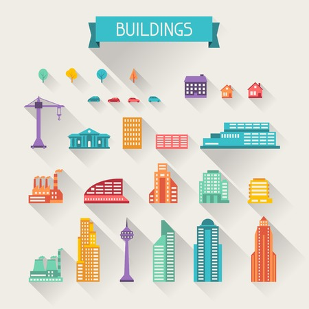 office building: Cityscape icon set of buildings. Illustration