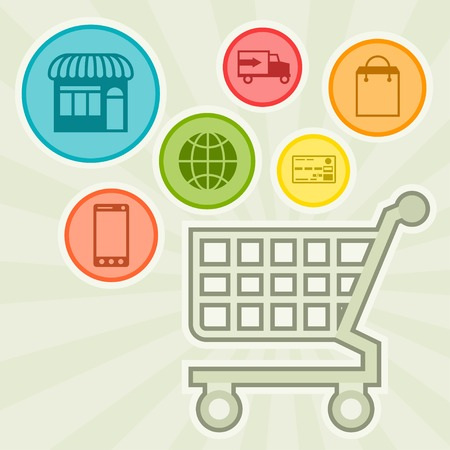 shopping order: Internet shopping concept illustration. Illustration