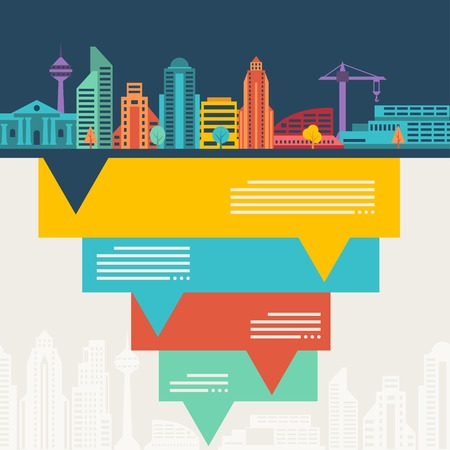 Cityscape background with buildings. Vector