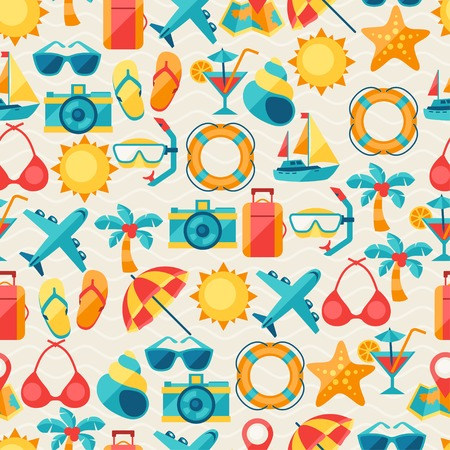 Travel and tourism seamless pattern. Vector