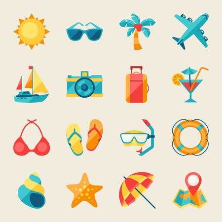 dive trip: Travel and tourism icon set. Illustration