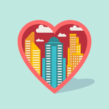 Cityscape background with buildings in shape of heart. Vector