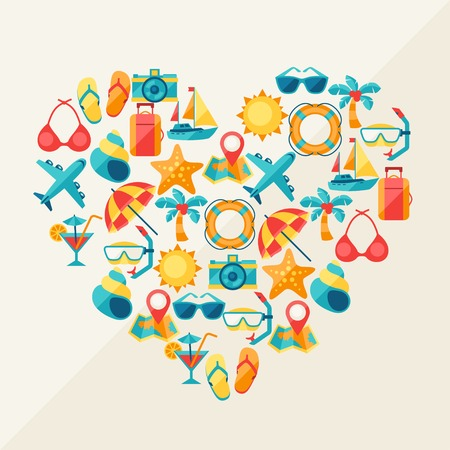 plane icon: Travel and tourism background of icons in heart shape. Illustration