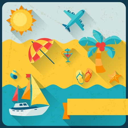 Travel and tourism background in flat design style. Vector
