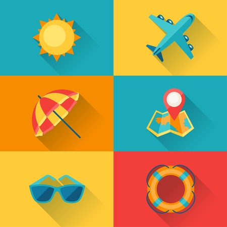 Travel and tourism icon set in flat design style. Vector