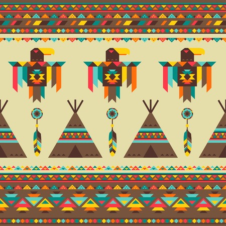 teepee: Ethnic seamless pattern in native style.