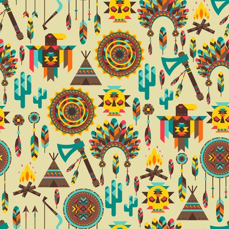 native american tomahawk: Ethnic seamless pattern in native style.