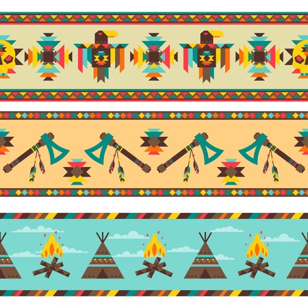 indian weapons: Ethnic seamless pattern in native style.