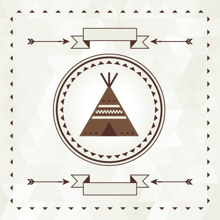 teepee: Ethnic background with wigwam in navajo design.