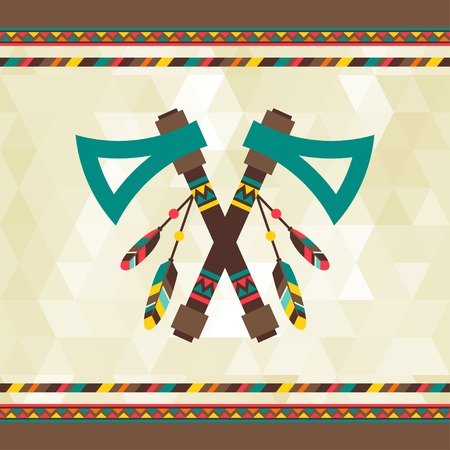 native american: Ethnic background with tomahawk in navajo design. Illustration