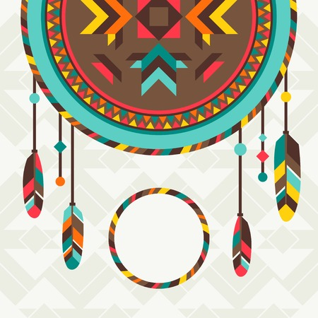 Ethnic background with dreamcatcher in navajo design. Vector