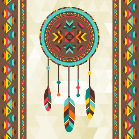 Antecedentes étnicos con atrapasueños en el diseño navajo. Foto de archivo - 26264652