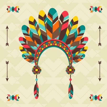 tribu: Origen étnico con la venda en el diseño navajo. Vectores