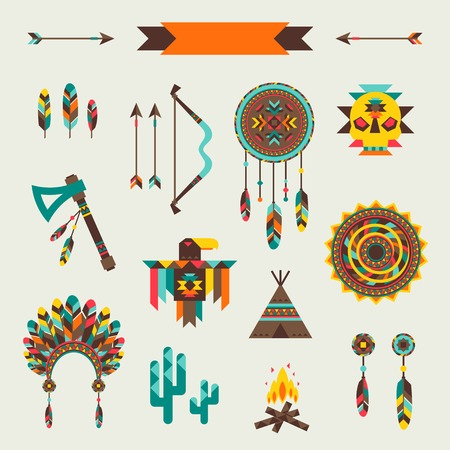 wigwam: Ethnic seamless pattern in native style.