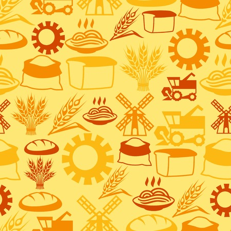 flour mill: Seamless pattern with agricultural objects.