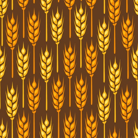 textile industry: Seamless pattern with ears of wheat.