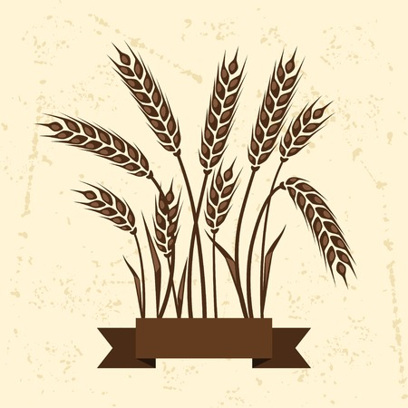 Background with ears of wheat. Vector