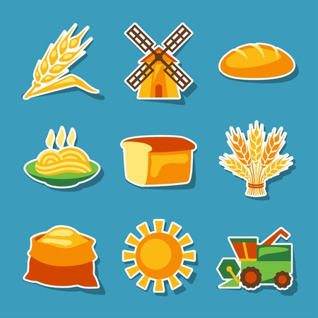 cultivation: Cereal cultivation and farming sticker icon set. Illustration