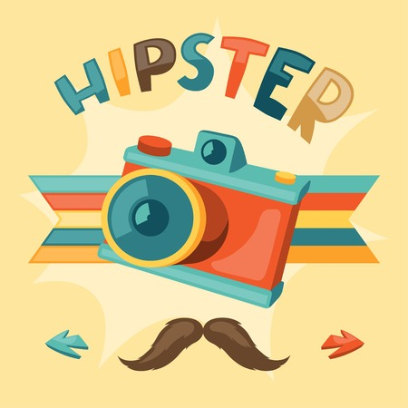 subculture: Design with photo camera in hipster style. Illustration