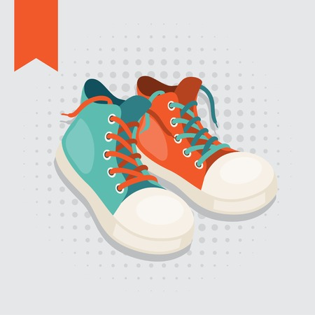 Pair of hipster gumshoes. Vector