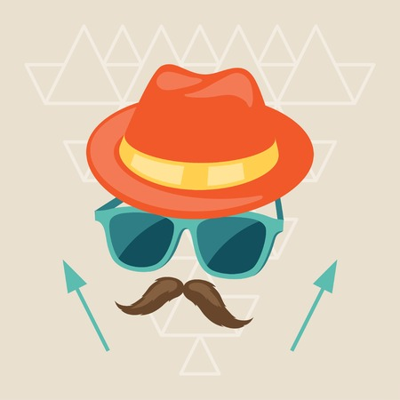 Design with hat, glasses and mustache in hipster style. Vector