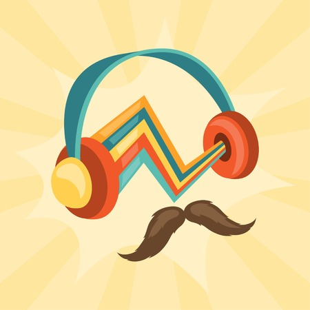 mustached: Design with headphones and mustache in hipster style. Illustration