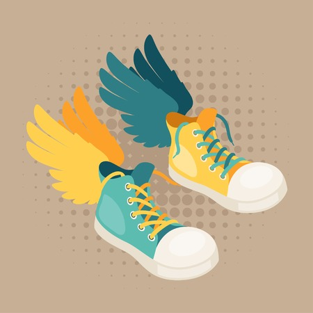 Design with sneakers and wings in hipster style. Vector