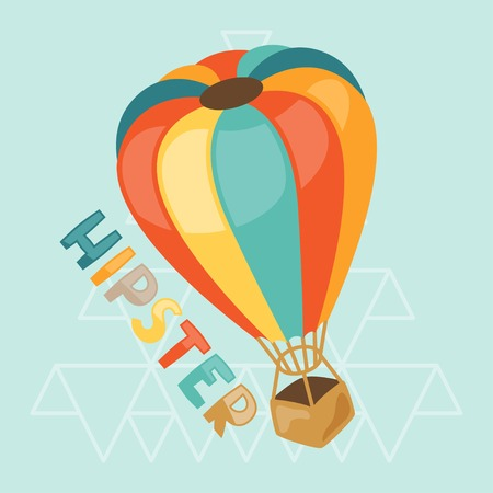 aerostat: Design with air balloon in hipster style. Illustration