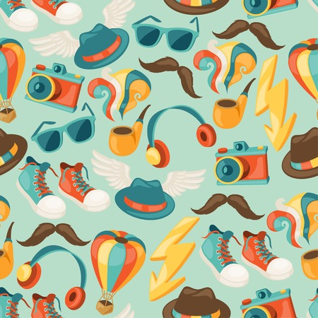 Hipster style seamless pattern. Vector